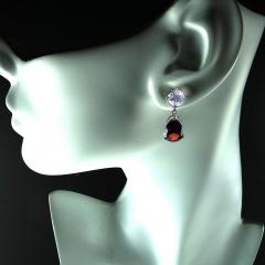 Gemjunky Stunning Garnet and White Danburite Dangle Earrings 14K white gold - 1647359