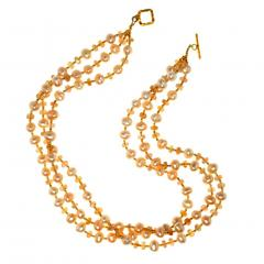 Gemjunky Triple strand Orange Imperial Topaz and Peach Pearl Necklace - 1647218