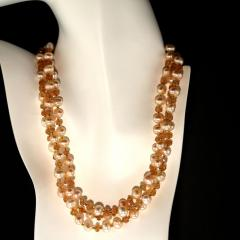 Gemjunky Triple strand Orange Imperial Topaz and Peach Pearl Necklace - 1647219