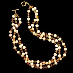Gemjunky Triple strand Orange Imperial Topaz and Peach Pearl Necklace - 1647220