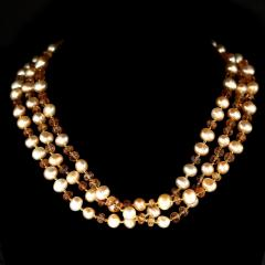 Gemjunky Triple strand Orange Imperial Topaz and Peach Pearl Necklace - 1647221