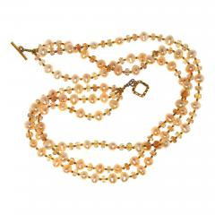 Gemjunky Triple strand Orange Imperial Topaz and Peach Pearl Necklace - 1648087