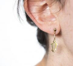 Gemjunky Yellow Gold NAZCA Lines Earrings - 1991176