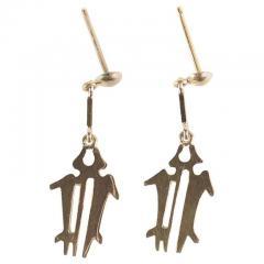 Gemjunky Yellow Gold NAZCA Lines Earrings - 1991179