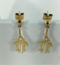Gemjunky Yellow Gold NAZCA Lines Earrings - 1991201