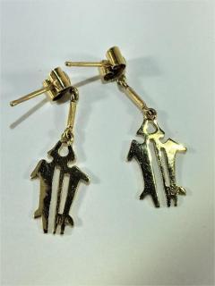 Gemjunky Yellow Gold NAZCA Lines Earrings - 1991202