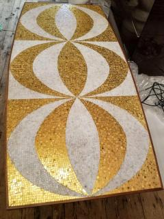 Genaro Alvarez Mosaic Dining Table Writing Desk Gold and Marble Tile Bronze Bases circa 1958 - 1236683