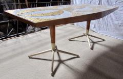 Genaro Alvarez Mosaic Dining Table Writing Desk Gold and Marble Tile Bronze Bases circa 1958 - 1236685