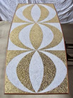 Genaro Alvarez Mosaic Dining Table Writing Desk Gold and Marble Tile Bronze Bases circa 1958 - 1236688
