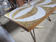 Genaro Alvarez Mosaic Dining Table Writing Desk Gold and Marble Tile Bronze Bases circa 1958 - 1236690