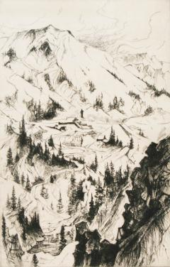 Gene Alice Geneva Glasier Kloss Mine and Mountain Sketch - 340320