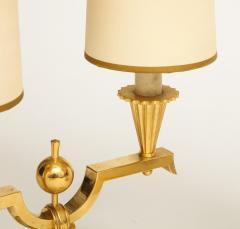Genet et Michon ELEGANT PAIR OF ART DECO BRASS AND PARCHMENT TABLE LAMPS BY GENET MICHON - 1941448