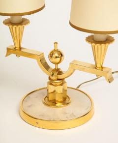 Genet et Michon ELEGANT PAIR OF ART DECO BRASS AND PARCHMENT TABLE LAMPS BY GENET MICHON - 1941450