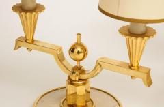 Genet et Michon ELEGANT PAIR OF ART DECO BRASS AND PARCHMENT TABLE LAMPS BY GENET MICHON - 1941451