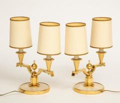 Genet et Michon ELEGANT PAIR OF ART DECO BRASS AND PARCHMENT TABLE LAMPS BY GENET MICHON - 1941456