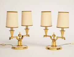 Genet et Michon ELEGANT PAIR OF ART DECO BRASS AND PARCHMENT TABLE LAMPS BY GENET MICHON - 1941457