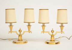 Genet et Michon ELEGANT PAIR OF ART DECO BRASS AND PARCHMENT TABLE LAMPS BY GENET MICHON - 1941459