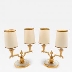 Genet et Michon ELEGANT PAIR OF ART DECO BRASS AND PARCHMENT TABLE LAMPS BY GENET MICHON - 1942387
