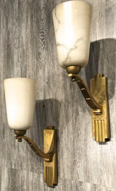 Genet et Michon Genet Michon exceptional quality gold bronze and alabaster 4 sconces - 1205533