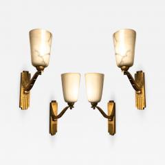 Genet et Michon Genet Michon exceptional quality gold bronze and alabaster 4 sconces - 1206102