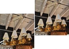 Genet et Michon Genet Michon rarest pair of gold 6 lights chandelier - 1247088