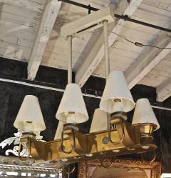 Genet et Michon Genet Michon rarest pair of gold 6 lights chandelier - 1247089