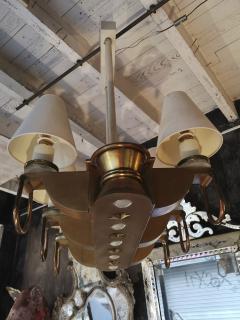Genet et Michon Genet Michon rarest pair of gold 6 lights chandelier - 1247091