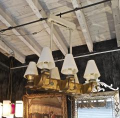 Genet et Michon Genet Michon rarest pair of gold 6 lights chandelier - 1247093