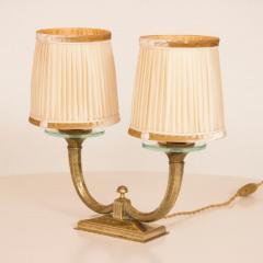 Genet et Michon Pair of Gilt Bronze Genet et Michon Lamps with Original Shades - 1892907