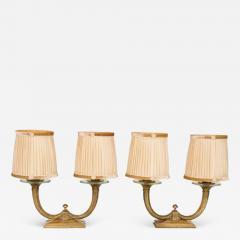 Genet et Michon Pair of Gilt Bronze Genet et Michon Lamps with Original Shades - 1894150