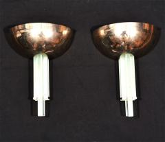 Genet et Michon Pair of Modernist Art Deco Wall Sconces by Genet et Michon - 1435852