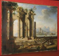 Gennaro Greco Il Mascacotta Classical Ruins with a Seascape in the Distance - 281208