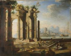Gennaro Greco Il Mascacotta Classical Ruins with a Seascape in the Distance - 281321