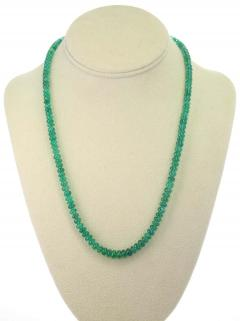 Genuine Natural Fine Strand of Emerald Plain Beads Necklace 14 Karat Gold - 1843698