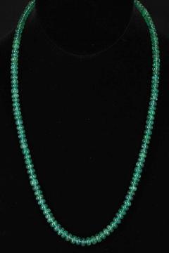 Genuine Natural Fine Strand of Emerald Plain Beads Necklace 14 Karat Gold - 1843701