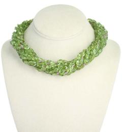 Genuine Natural Peridot Tumbled Faceted Beads with Pink Sapphire Bead Necklace - 1844483