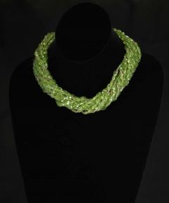 Genuine Natural Peridot Tumbled Faceted Beads with Pink Sapphire Bead Necklace - 1844484