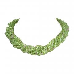 Genuine Natural Peridot Tumbled Faceted Beads with Pink Sapphire Bead Necklace - 1845590