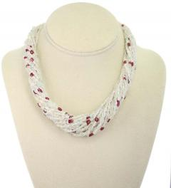 Genuine Natural Yellowish White Sapphire Plain Tumbled Bead with Ruby Necklace - 1843702