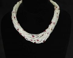 Genuine Natural Yellowish White Sapphire Plain Tumbled Bead with Ruby Necklace - 1843704