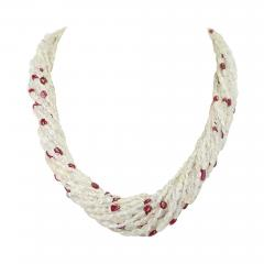 Genuine Natural Yellowish White Sapphire Plain Tumbled Bead with Ruby Necklace - 1845588