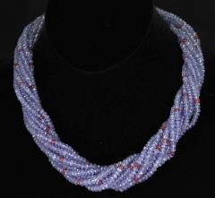 Genuine and Natural Tanzanite and Spinel Faceted Bead Choker Necklace 18K White - 1844509