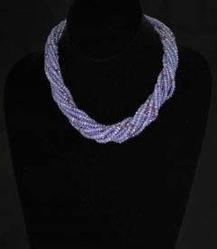 Genuine and Natural Tanzanite and Spinel Faceted Bead Choker Necklace 18K White - 1844510