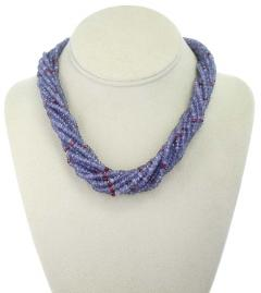 Genuine and Natural Tanzanite and Spinel Faceted Bead Choker Necklace 18K White - 1844511