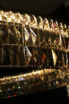 Georg Baldele GLITTERHOOP GOLDEN TEAK minimalist crystal chandelier - 1446717