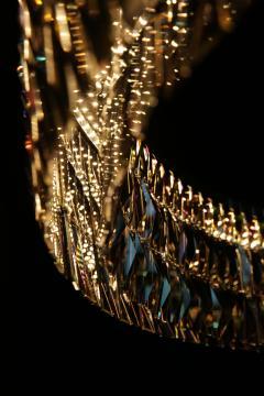 Georg Baldele GLITTERHOOP GOLDEN TEAK minimalist crystal chandelier - 1446720