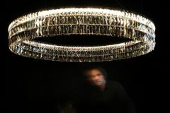 Georg Baldele GLITTERHOOP GOLDEN TEAK minimalist crystal chandelier - 1446725