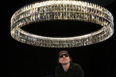 Georg Baldele GLITTERHOOP GOLDEN TEAK minimalist crystal chandelier - 1446742