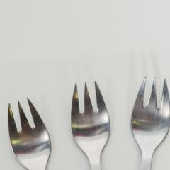 Georg Jensen 1970s Danish Henning Koppel Georg Jensen Strata Black Flatware Salad Forks 4  - 1584098