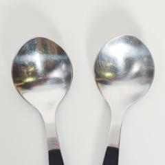 Georg Jensen 1970s Strata Black Stainless Flatware 2 Large Spoons Georg Jensen DENMARK - 1584071